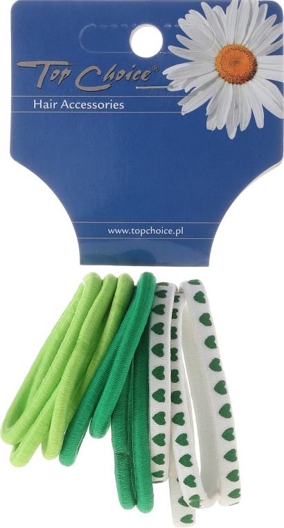 Elastice pentru păr 12 buc., verde mix - Top Choice