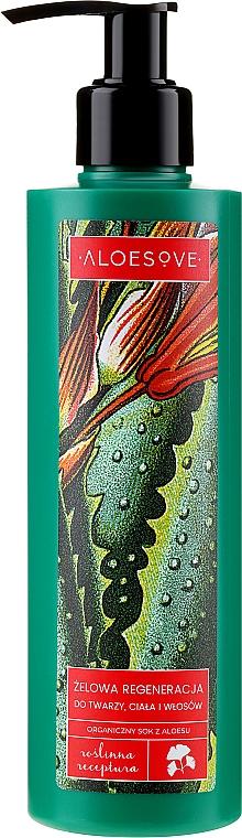 Gel cu suc organic de aloe pentru față, corp și păr - Aloesove — Imagine N1