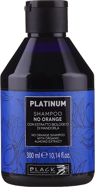 Şampon cu extract de migdale pentru neutralizarea nuanțele de portocaliu și cupru - Black Professional Line Platinum No Orange Shampoo With Organic Almond Extract