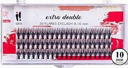 Parfumuri și produse cosmetice Gene false C 0,1 mm, 10 mm - Ibra Extra Double 20 Flares Eyelash C 10 mm