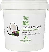 Parfumuri și produse cosmetice Cremă cu cacao și nucă de cocos pentru masaj, fără miros - Bulgarian Rose Herbal Care Cocoa & Coconut Massage Cream Odorless