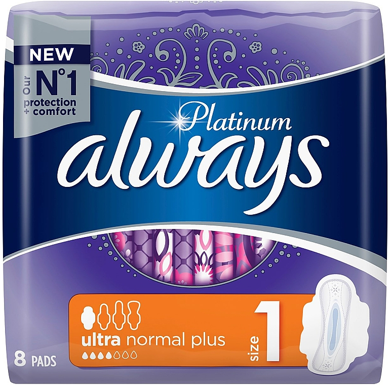 Absorbante, 8 bucăți - Always Platinum Ultra Normal Plus — Imagine N1