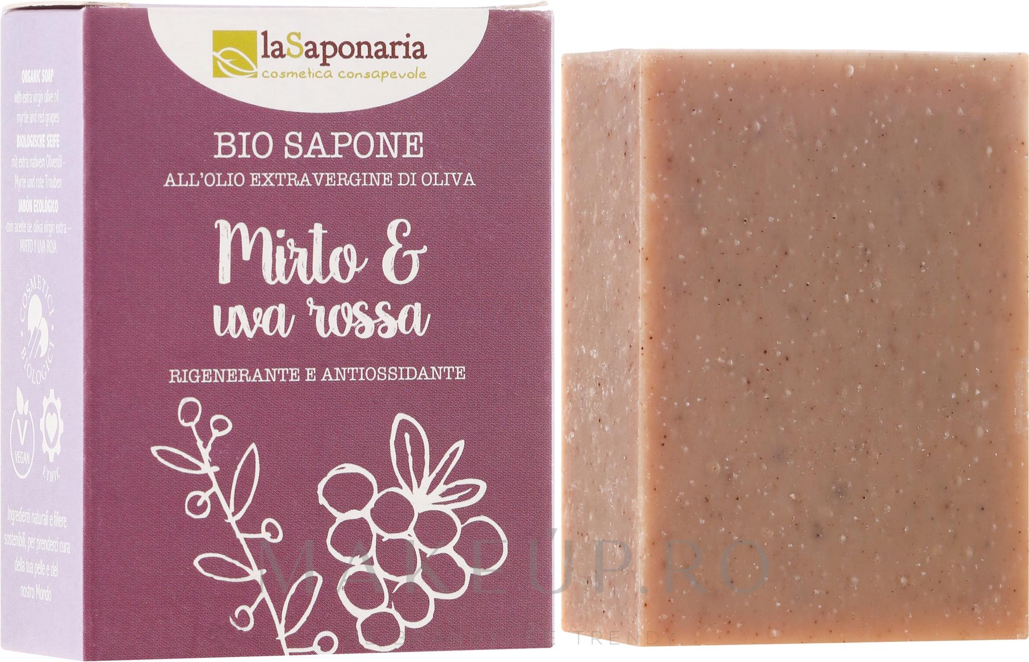 "Săpun bio ""Mirtle și Struguri roșii"" - La Saponaria Bio Sapone — Imagine 100 g"