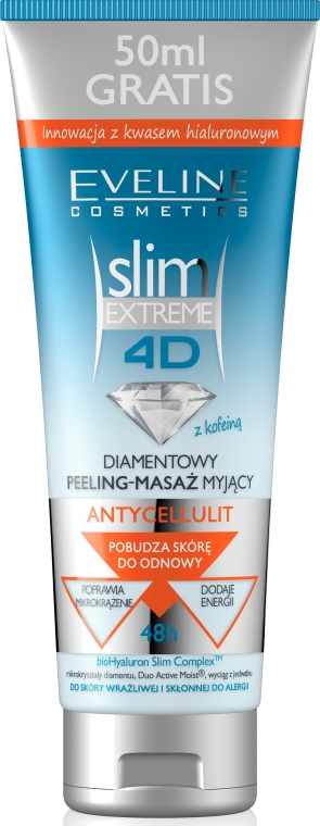 Gel de duș exfoliant anti celulită - Eveline Cosmetics Slim Extreme 4D Washing Peeling-Massage Anti-Cellulite