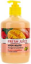 """Parfumuri și produse cosmetice Cremă-săpun cu ulei de camelie """"Mango și Carambola"""", cu dozator - Fresh Juice Mango & Carambol"""