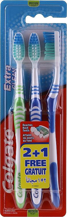 Set periuțe de dinți, medii, albastră + albastră + verde - Colgate Extra Clean Medium — Imagine N1