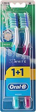 Set periuțe de dinți, 40 duritate medie, turcoaz+roz - Oral-B 3D White Fresh 40 Medium 1+1 — Imagine N1