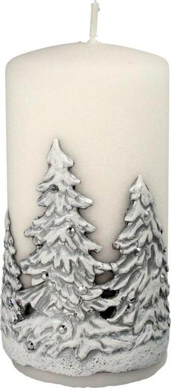 "Lumânare decorativă ""Christmas trees"", albă, 7x14 cm - Artman Christmas Tree Candle — Imagine N1"