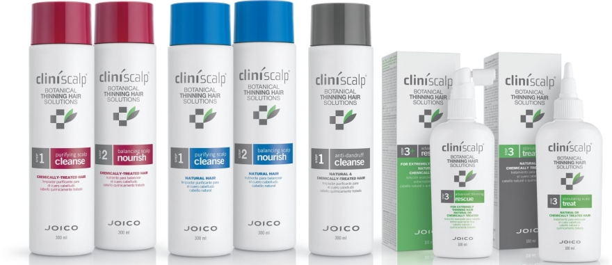 Set împotriva cheliei, păr vopsit - Joico Cliniscalp 3-step Trial Kit For Chemically Treated Hair Advanced Stages (shmp/100ml + cond/100ml + treat/50ml) — Imagine N3