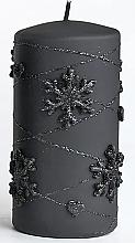 Parfumuri și produse cosmetice Lumânare decorativă, neagră, 7x10 cm - Artman Snowflake Application