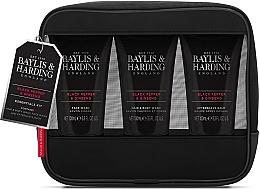 Parfumuri și produse cosmetice Set - Baylis & Harding Signature Men's Black Pepper & Ginseng Toiletry Bag (hair/body/wash/100ml+a/sh/balm/100ml+face/wash/100ml+acc)