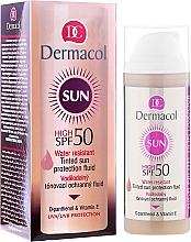 Parfumuri și produse cosmetice Fluid de nuanțare rezistent la apă SPF 50 - Dermacol Sun WR Tinted Sun Protection Fluid SPF50