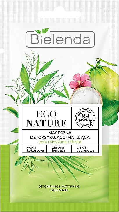 Mască de față - Bielenda Eco Nature Coconut Water Green Tea & Lemongrass Detox & Mattifyng Face Mask