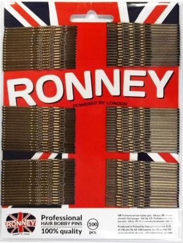 Agrafe de păr, auriu 60 mm, 100 buc. - Ronney Professional Bronze Hair Bobby Pins — Imagine N1