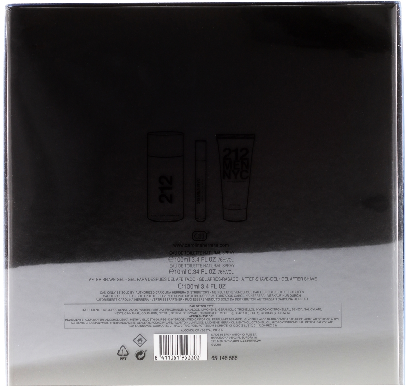 Carolina Herrera 212 Men NYC - Set (edt/100ml + ash/gel/100ml + edt/mini/10ml) — Imagine N2