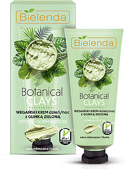 Cremă cu argilă verde pentru față - Bielenda Botanical Clays Vegan Day Night Cream Green Clay — Imagine N1