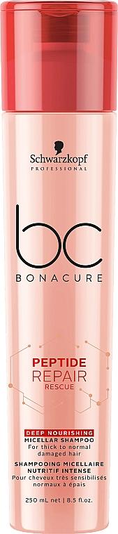 Șampon regenerant nutritiv - Schwarzkopf Professional BC Bonacure Peptide Repair Rescue Deep Nourishing Micellar Shampoo — Imagine N1