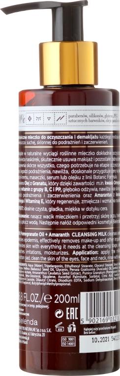Lăptișor de curățare pentru față - Bielenda Botanic Formula Pomegranate Oil + Amaranth Cleansing Milk — Imagine N2