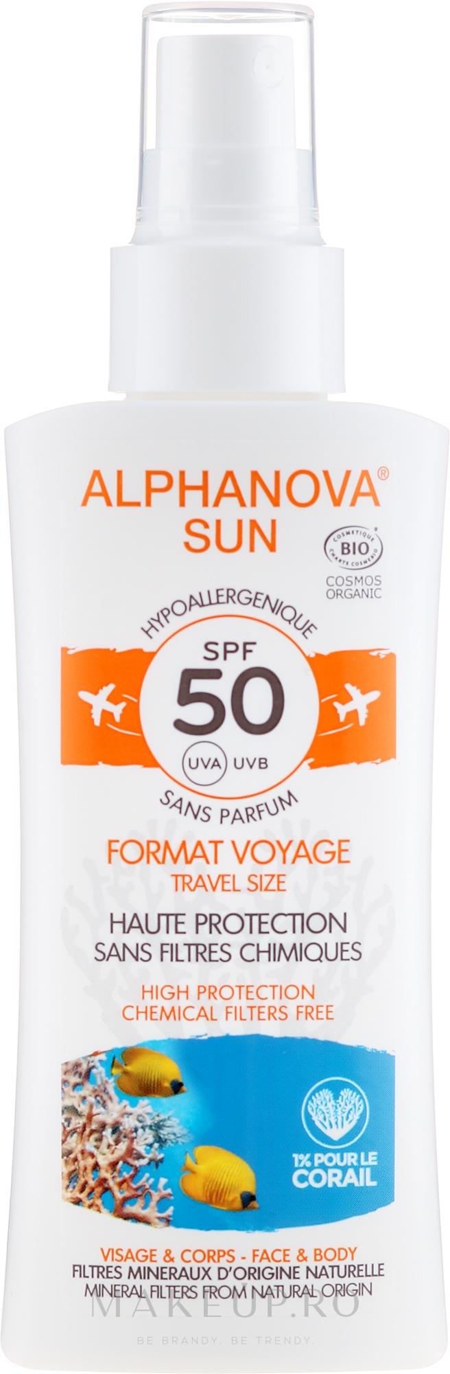 Spray cu protecție solară pentru corp - Alphanova Sun Bio SPF50 Spray Voyage — Imagine 90 g