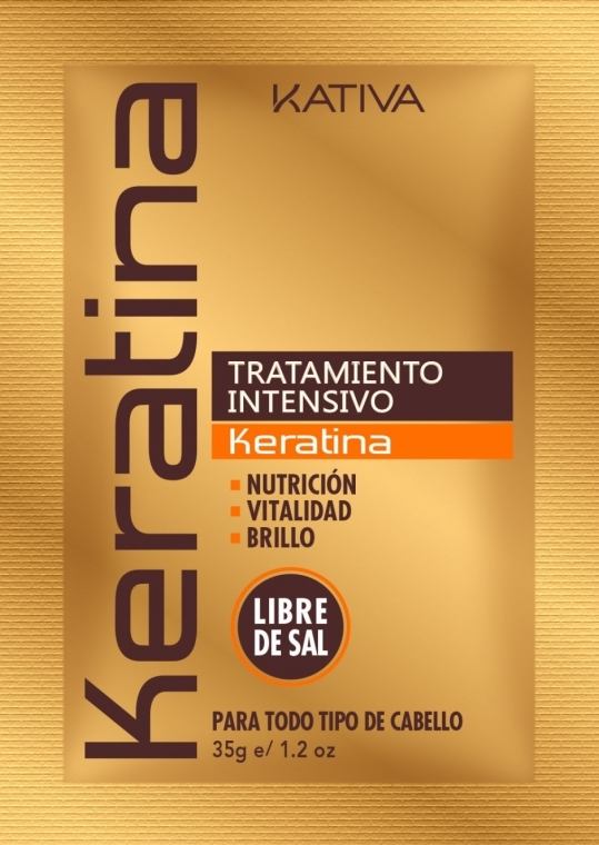 Mască cu keratină intensiv regeneratoare pentru părul deteriorat și fragil - Kativa Keratina Intensive Treatment — Imagine N1
