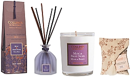 Parfumuri și produse cosmetice Set - Collines De Provence Musk And Berry (candle/75g + aroma/diffuser/100ml + sachet/1st)