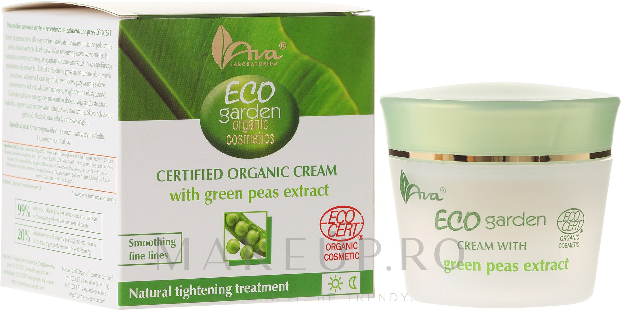 Cremă cu extract de mazăre pentru față 50+ - Ava Laboratorium Eco Garden Certified Organic Cream With Green Peas — Imagine 50 ml