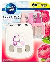 "Parfumuri și produse cosmetice Set aromatizator ""Trandafir"" - Ambi Pur (diffuser/1szt+refill/3x7ml)"