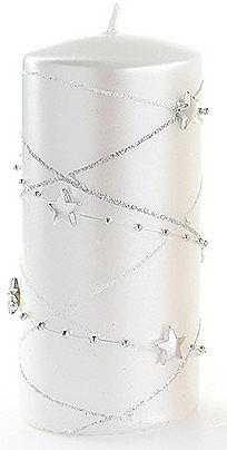 Lumânare decorativă, albă, 7x14 cm - Artman Christmas Garland — Imagine N1