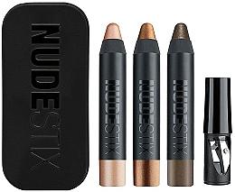 Parfumuri și produse cosmetice Set - Nudestix Mini Nude Metallic Eye (eye/pencil/3 x 2.5g + sharpener + box)