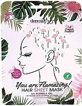 """Parfumuri și produse cosmetice Mască cu ulei de marula pentru păr """"Flamingo"""" - Derma V10 Flamingo Print Hair Mask With Marula Oil"""