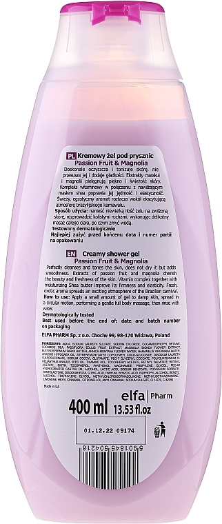 """Gel-cremă de duș """"Maracuya Juice and Magnolia"""" - Fresh Juice Creamy Shower Gel Passion Fruit & Magnolia — Imagine N2"""