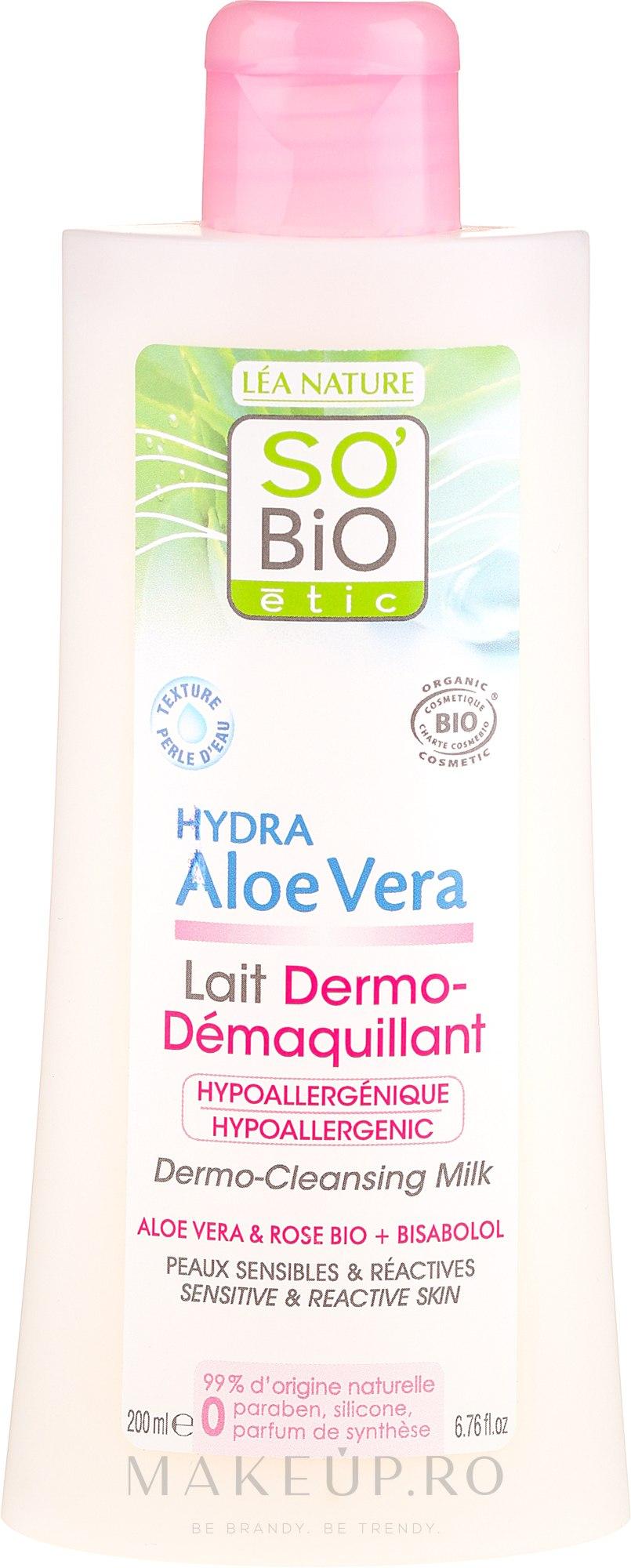 Lapte demachiant pentru pielea sensibilă - So'Bio Etic Aloe Vera Dermo-Cleansing Milk — Imagine 200 ml