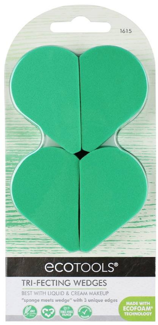 Set bureți de machiaj - EcoTools Tri-Fecting Wedges for Liquid & Cream Makeup (4buc) — Imagine N1