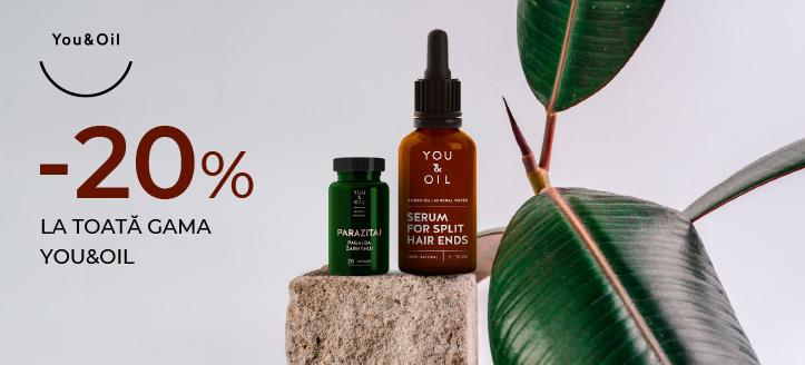 Reducere 20% la toată gama You&Oil. Prețurile de pe site sunt indicate cu reduceri