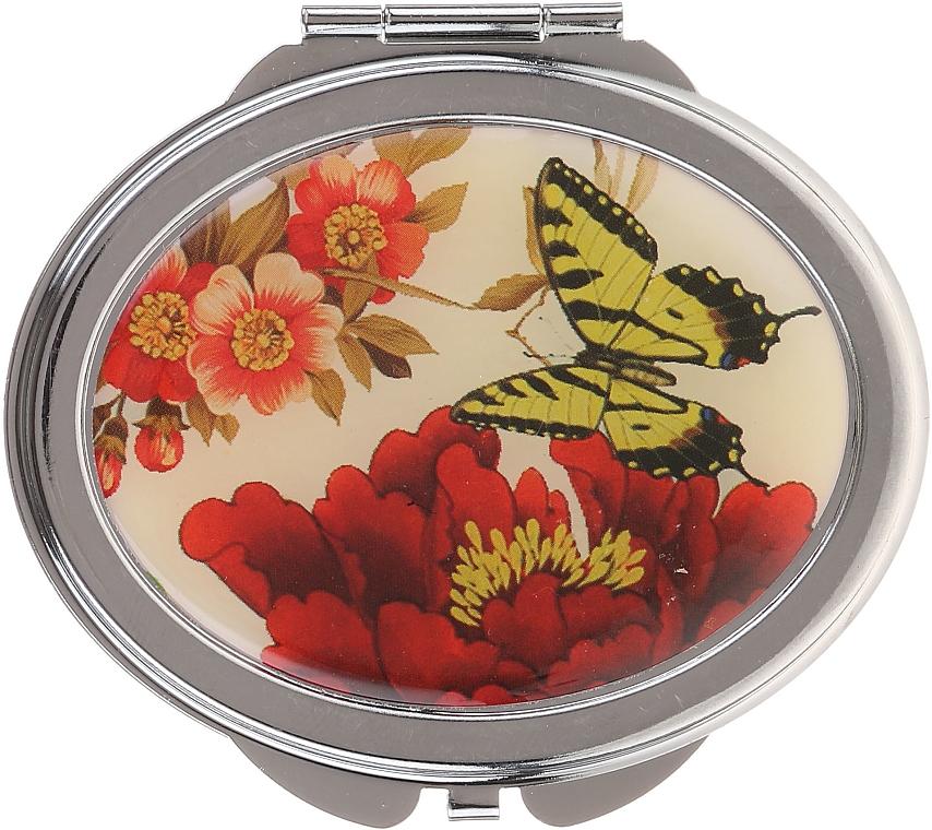 """Oglindă cosmetică, """"Fluturi"""", 85451, fluture galben și floare roșie - Top Choice — Imagine N1"""