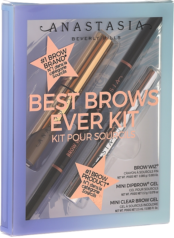 Set - Anastasia Beverly Hills Best Brows Ever Kit Soft Brown (pencil/0.08g + gel/2.5ml + gel/2.2g) — Imagine N1