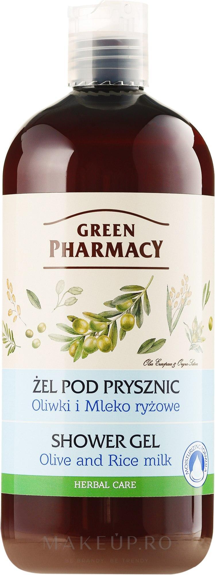 "Gel de duș ""Măsline și lapte de orez"" - Green Pharmacy Shower Gel Olive and Rice Milk — Imagine 500 ml"