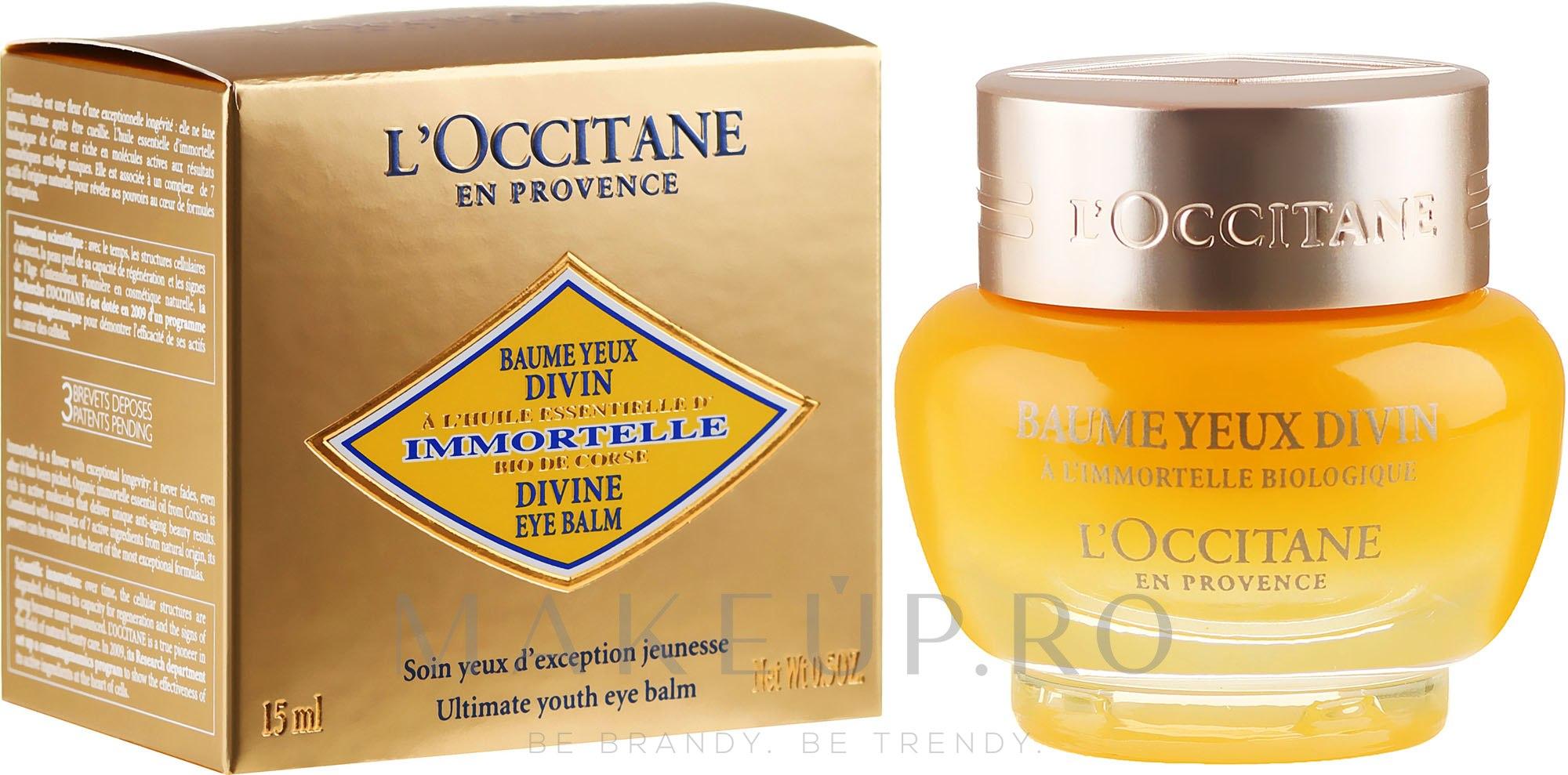 Balsam antirid pentru pleoape - L'Occitane Immortelle Divine Eye Balm — Imagine 15 ml