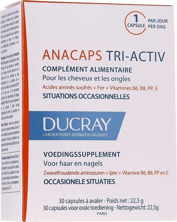 Supliment alimentar pentru scalp, păr și unghii - Ducray AnaCaps Tri-Activ Capsule — Imagine N3