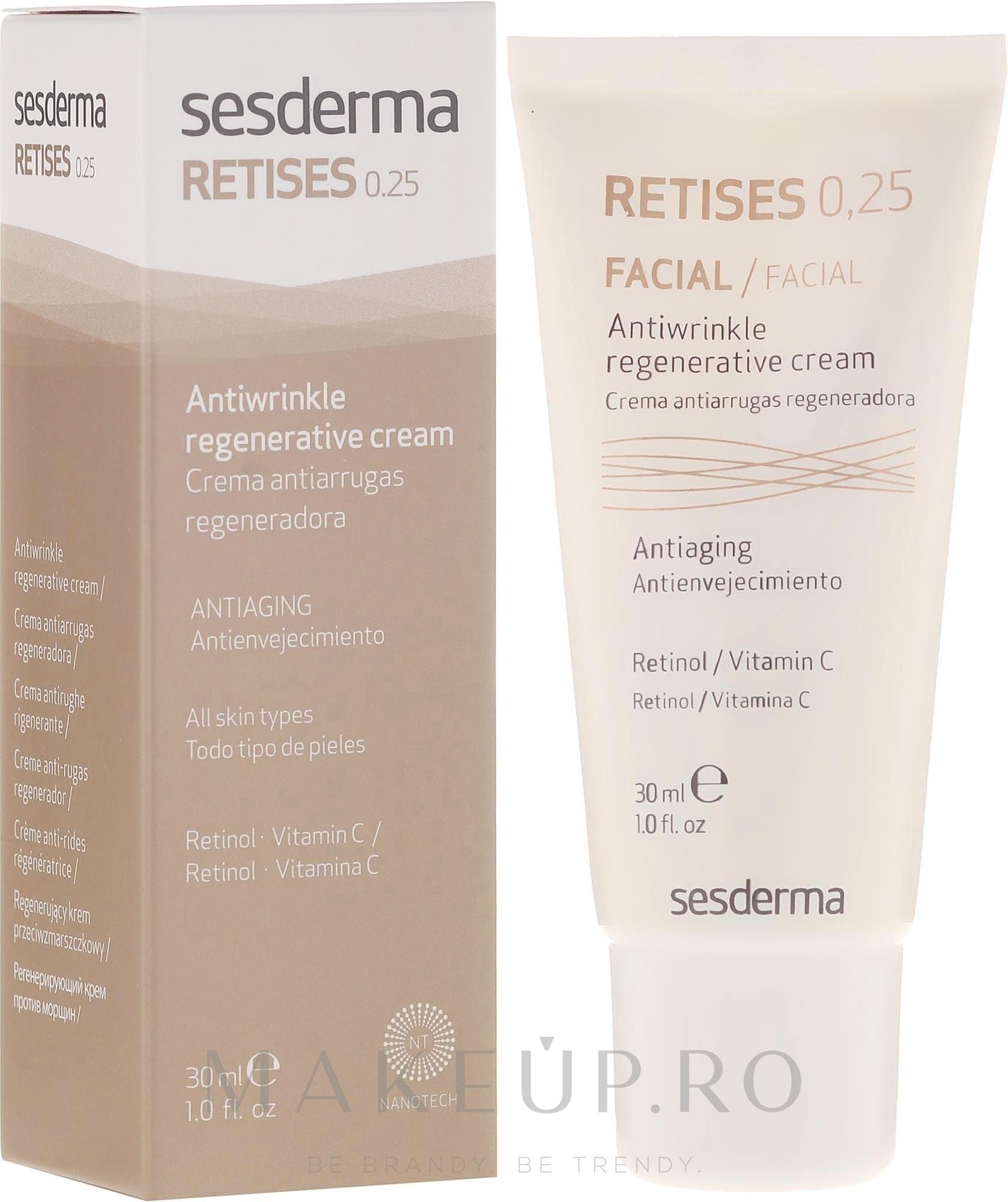 Cremă antirid regenerantă pentru piele matură - SesDerma Laboratories Retises 0.25% Antiwrinkle Regenerative Cream — Imagine 30 ml