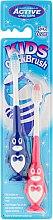 Parfumuri și produse cosmetice Set de periuțe de dinți, de 3-6 ani, pinguin, albastru și roz - Beauty Formulas Kids Quick Brush