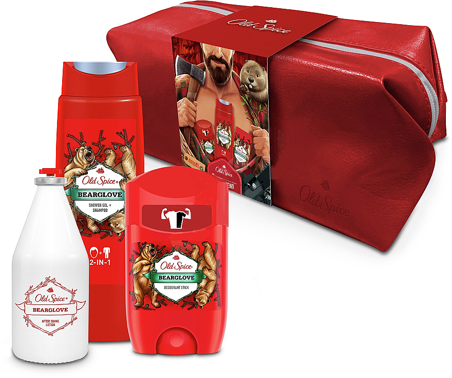 Set - Old Spice Bearglove Travel (deo/50g + sh/gel/250ml + ash/lot/100ml + bag) — Imagine N1
