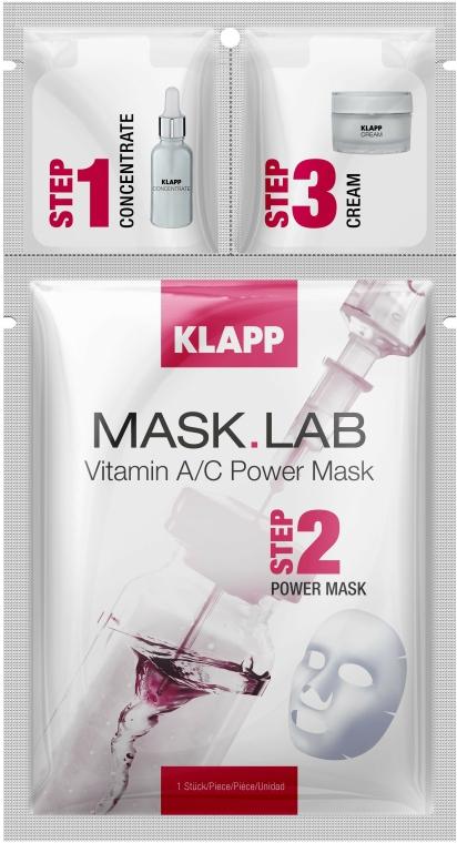 """Mască de față """"Vitamina A/C"""" - Klapp Mask Lab Vitamin A/C Power Mask"""