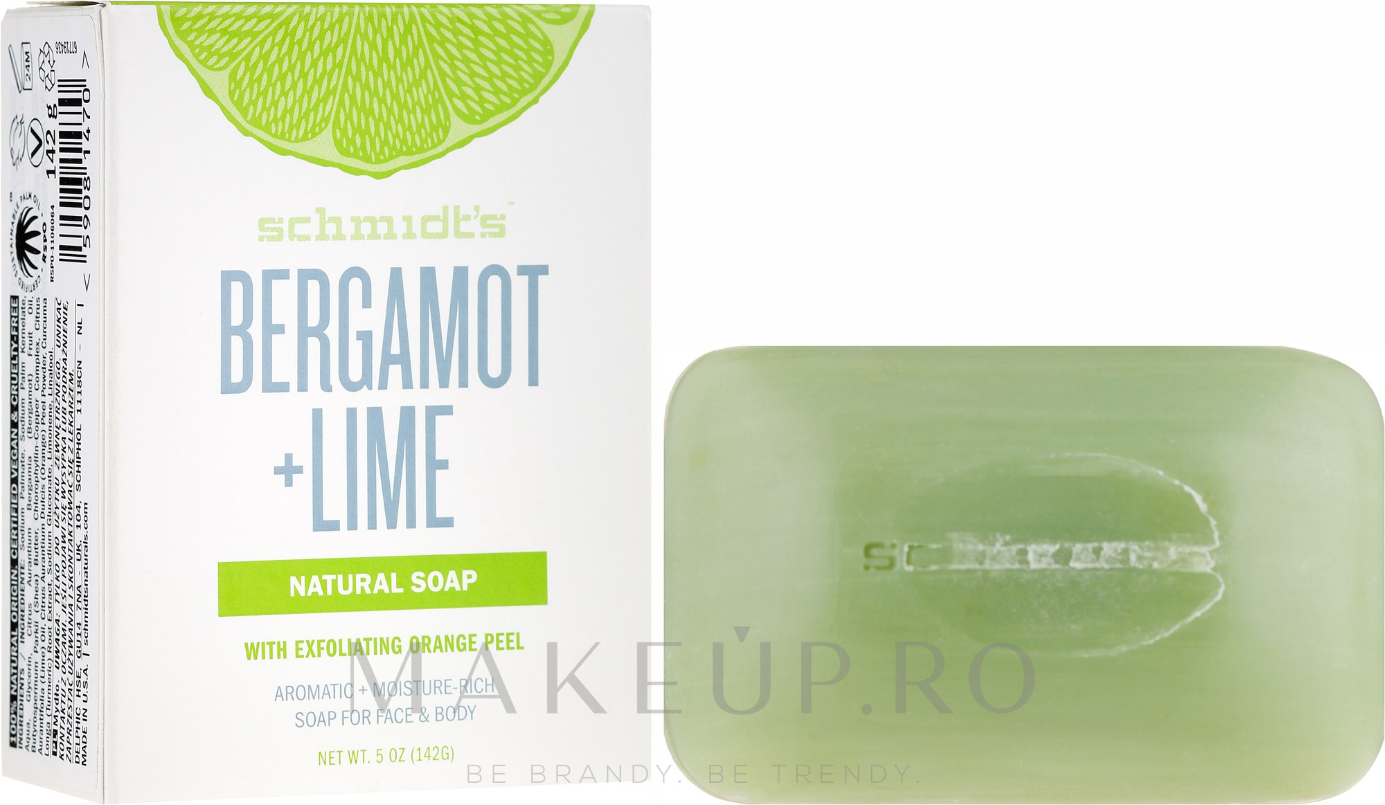 Săpun - Schmidt's Naturals Bar Soap Bergamot Lime — Imagine 142 g