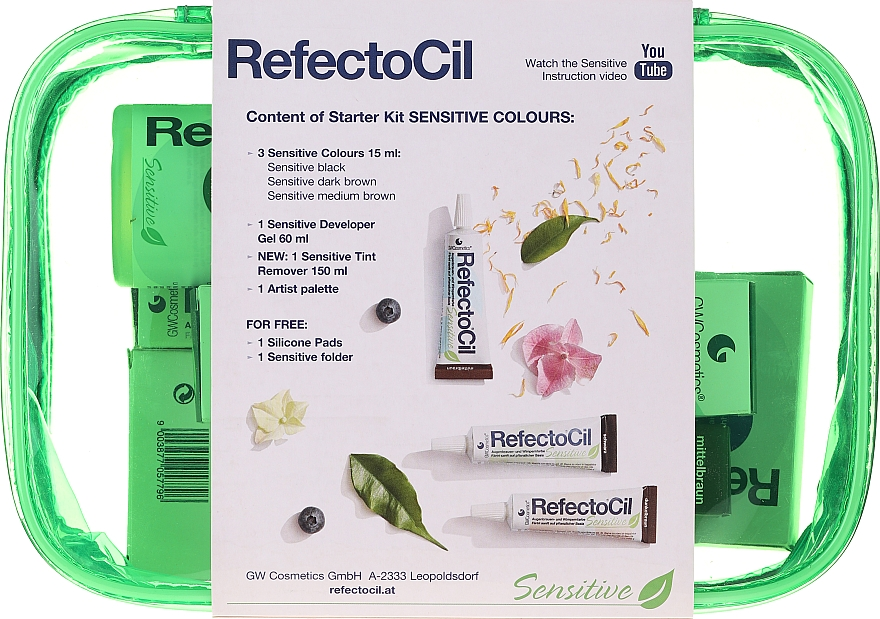Set pentru vosirea sprâncenelor și genelor - RefectoCil Lash & Brow Starter Sensitive Kit (dye/3x15ml + developer/gel/60ml + tint/remover/150ml + artist/palette + pads + folder) — Imagine N2