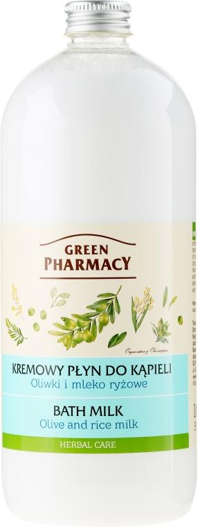 Lapte cu ulei de măsline și lapte de orez pentru baie - Green Pharmacy — Imagine N1