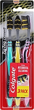 """Parfumuri și produse cosmetice Periuțe de dinți """"ZigZag. Cărbune"""" medie, turcoaz + galbenă + roz - Colgate"""