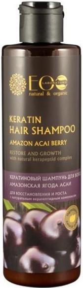 Șampon cu cheratină pentru regenerare și creștere - ECO Laboratorie Keratin Hair Shampoo Amazon Acai Berry