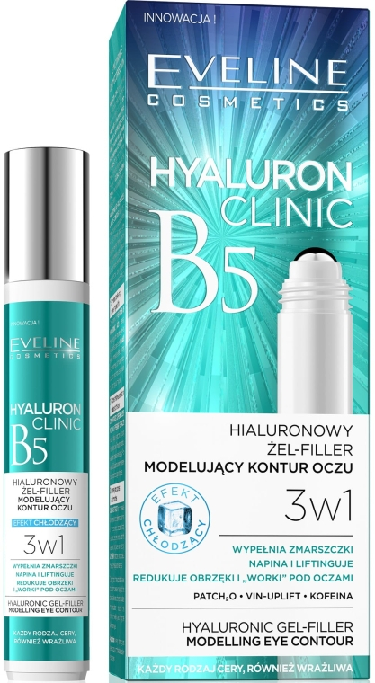 Gel cu acid hialuronic pentru ochi - Eveline Cosmetics Hyaluron Clinic Gel Filler Eye Contour Roll-on