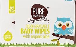 Parfumuri și produse cosmetice Șervețele umede cu extract de aloe, 64 bucăți - Pure Beginnings Biodegradable Aloe Baby Wipes